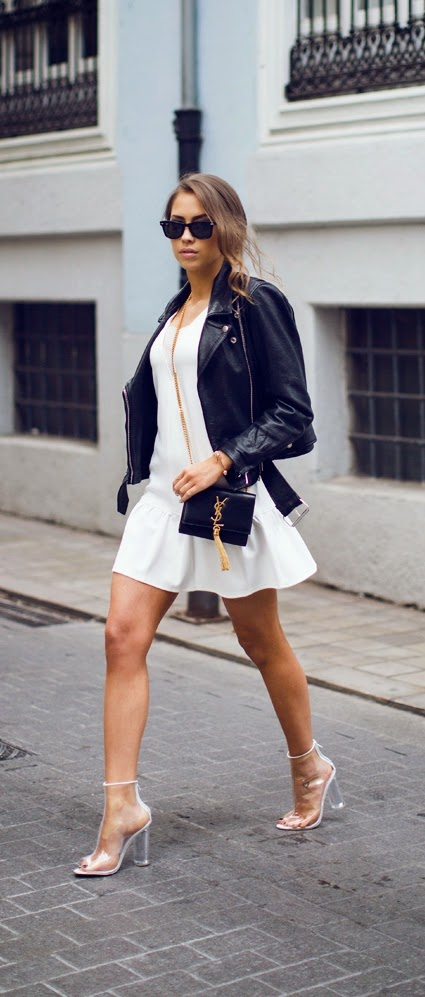 Classic White Dress with Leather Moto Jacket and Chic Heels | Spring Street Outfits