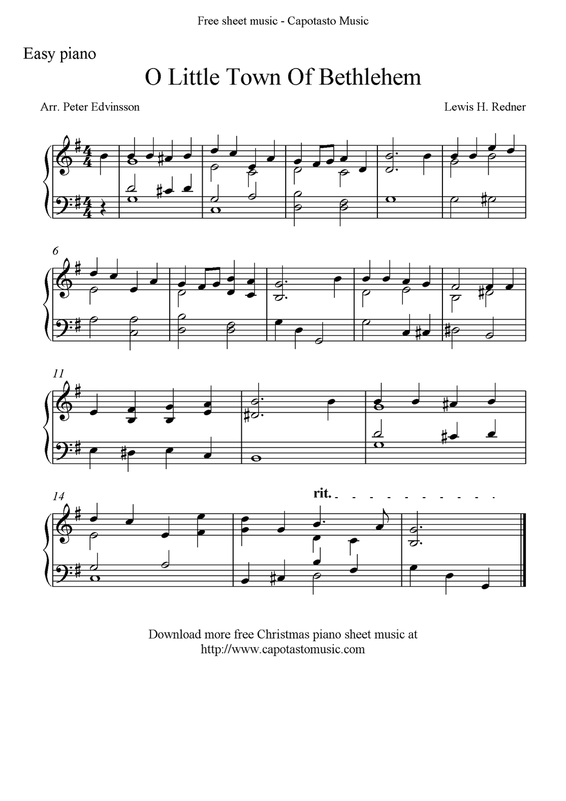 Free easy piano sheet music for christmas o little town of bethlehem