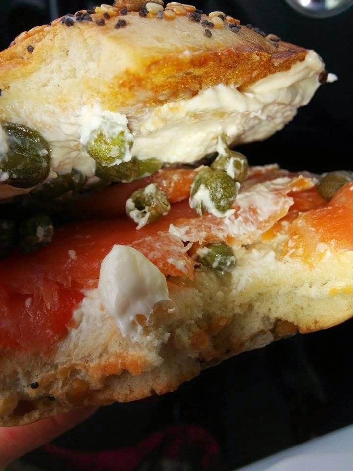 Lox smoked salmon, cream cheese, capers.