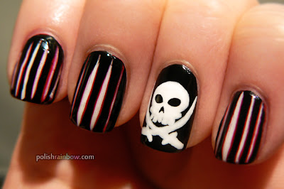 Polish Rainbow nail art: Pirate flag nails.