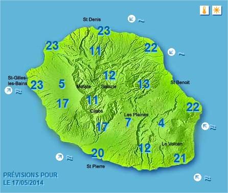 Prévisions météo Réunion pour le Samedi 17/05/14