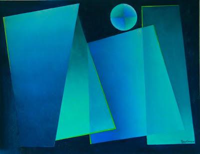 Transparências em tonalidades de azul - artista Elma Carneiro