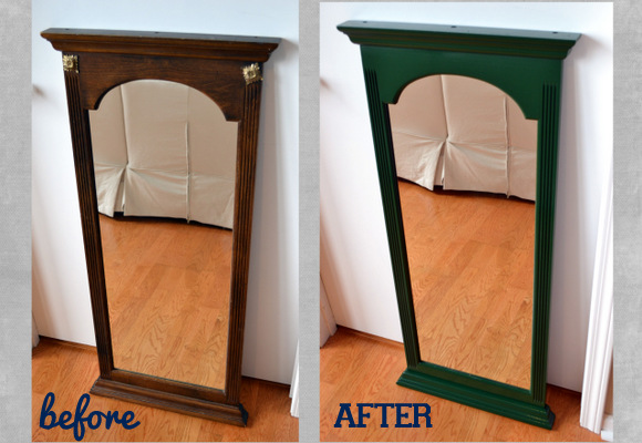 Mirror Before Brown After glossy green
