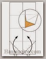 Bước 4: Từ vị trí mũi tên, mở hai lớp giấy trên cùng ra, kéo và gấp hai lớp giấy lên trên.
