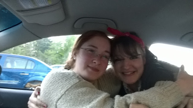 Best friends at a drive-in rockabilly Young Yankee Lady and Time Lady Geek