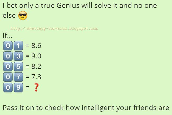 If 01=8.6 03=9.0 05=8.2 07=7.3 09=?