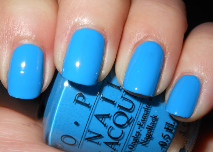 Ogre the Top Blue is a medium vibrant cyan blue creme Opi Nail Polish Light Blue