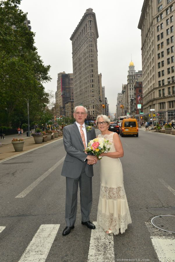 Wedding portrait in front of Flatiron Building NYC