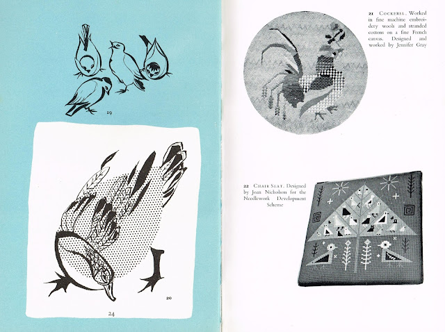Page from Canvas Work by Jennifer Gray 1960 including seat cover designed by my mother Joan Nicholson