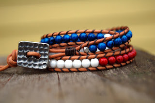 Handmade leather and bead wrap bracelet from Boulder Beads.