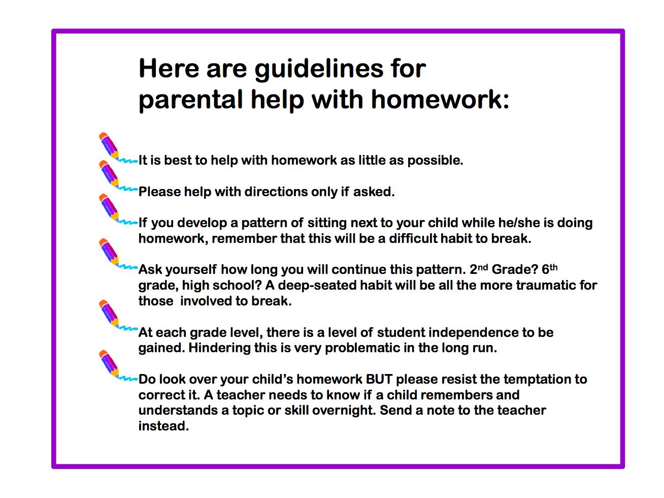 Homework help for parents tips