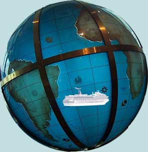 Ship sailing the globe