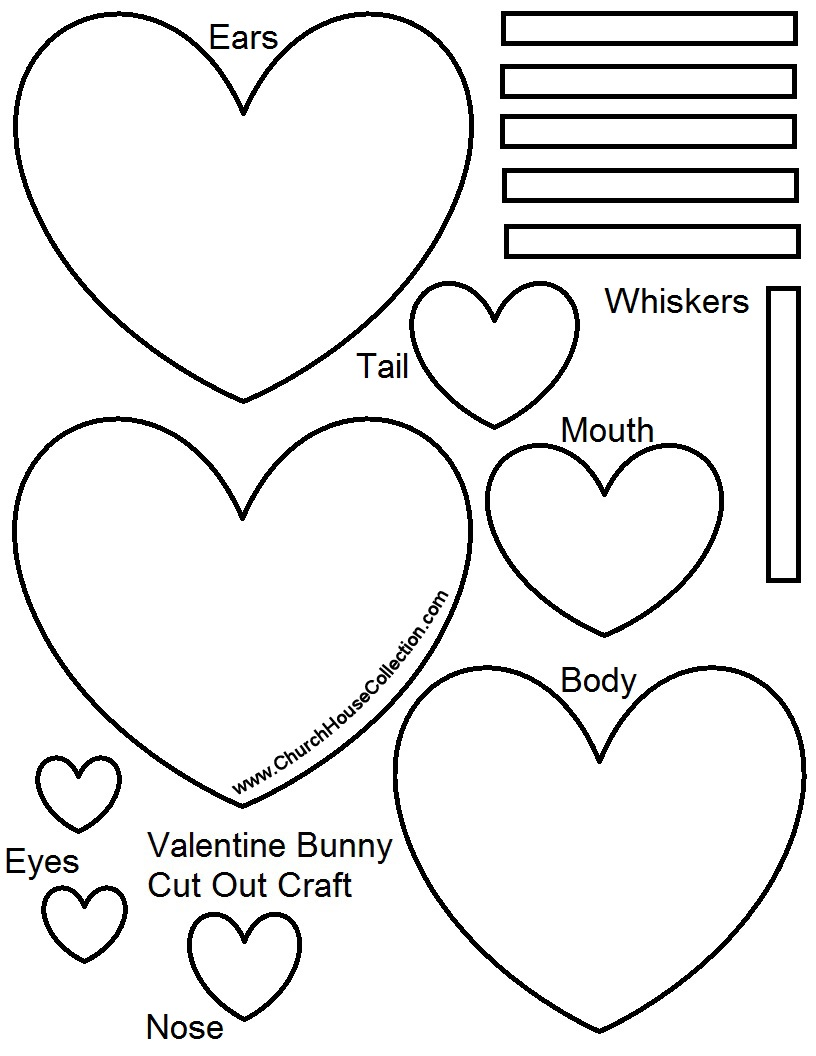 heart rabbit crafts for kids cutout printable template pattern free