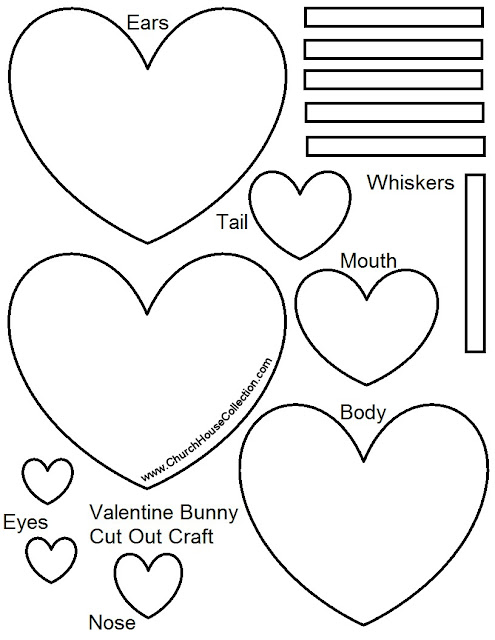 Printable Free Template Pattern Rabbit Bunny Heart Cutout Craft for preschool kids