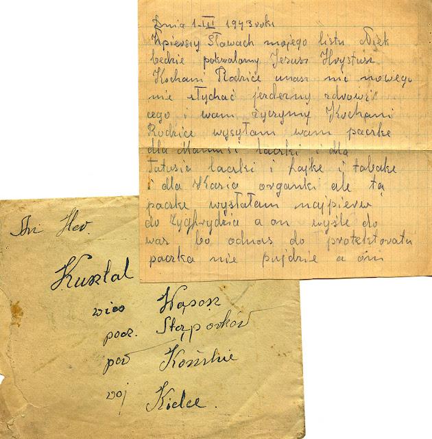 """List """"z robót"""" mieszkańca Wąsoszy. List w kolekcji KW."""