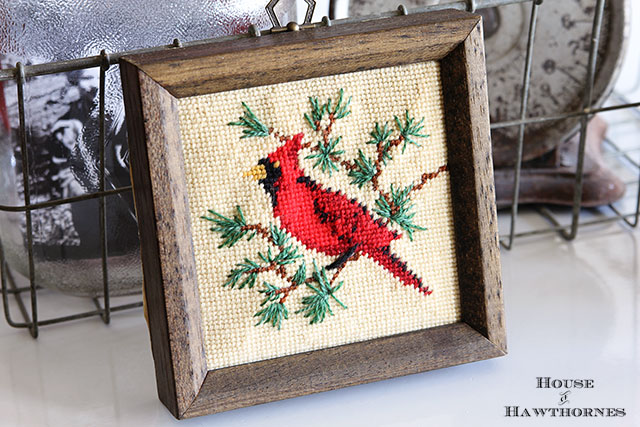 Framed needlepoint cardinal