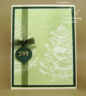 Picture of handmade Green Snowy Trees Christmas Card