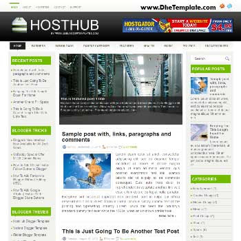 HostHub blog template with magazine style and 3 column blogger template