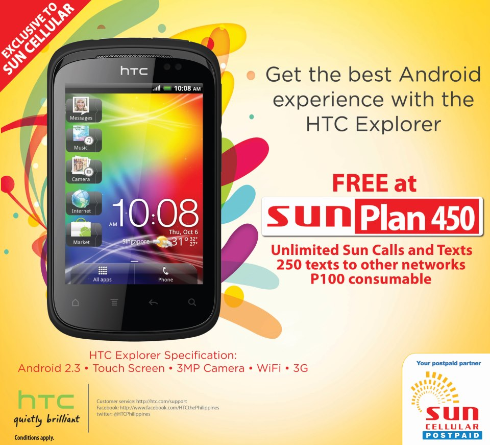 Htc explorer now free at sun cellular 39 s plan 450 for Sun mobile plan