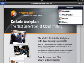 Cortado Workplace iPad app allows users to access, edit and print documents wirelessly