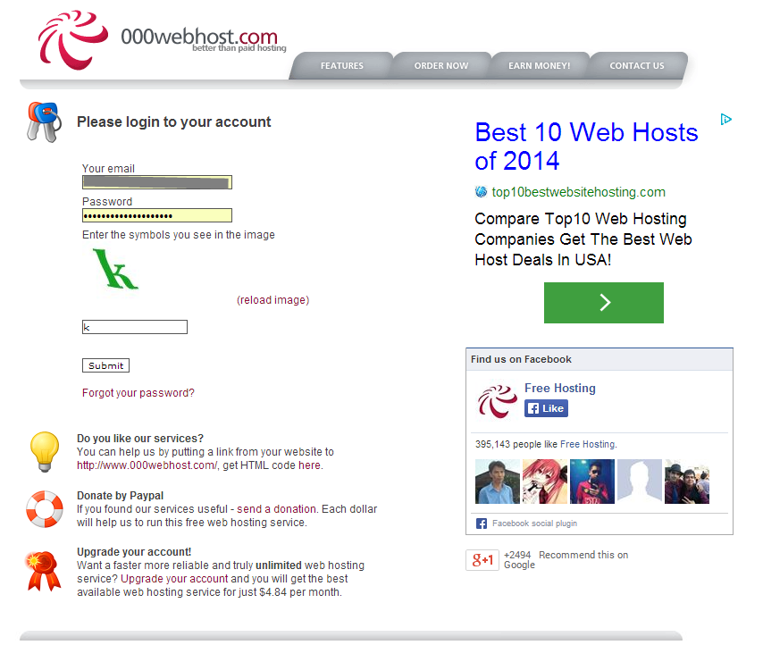 Login page on 000webhost.com