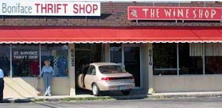 Funny pictures: car drives in a store