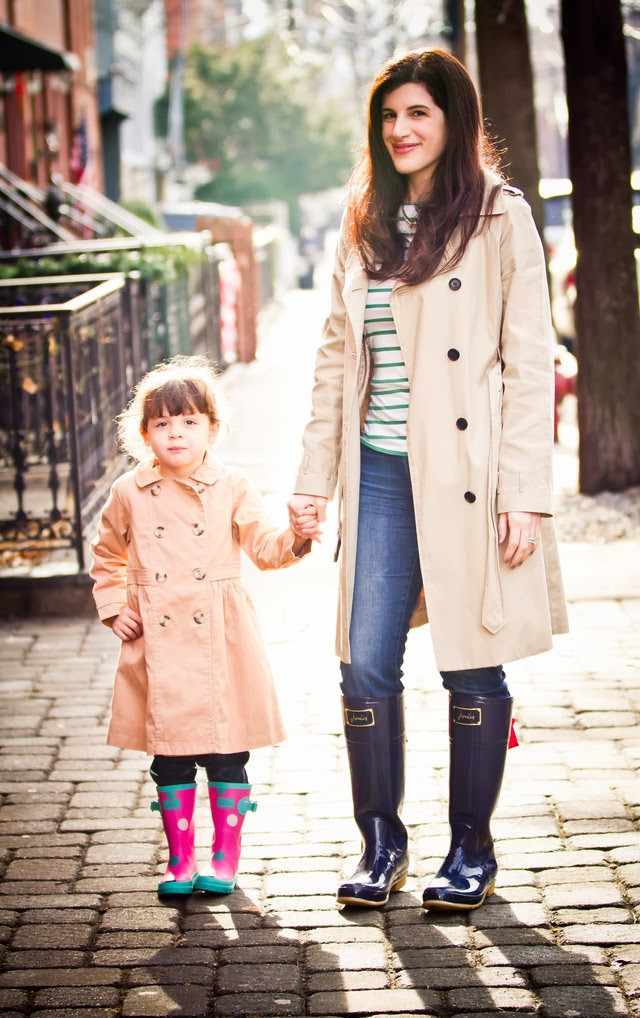 trench coats and rain boots