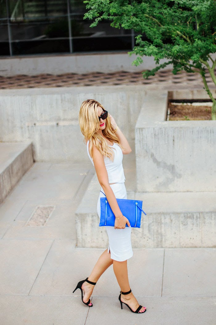 Vince Camuto, Nordstrom, Anniversary Sale, NSale, Sale, Royal Blue, Blue, Intermix, White, Pencil Skirt, Crop Top, Hooks, Gorjana Griffin, Gold, Hand Chain, JewelMint, Layered, Wishbone, Necklace, Cartier, Diamond, Panther, Celine, Sunglasses, YSL, Red, Lipstick, CND, Vinyl Lux, Patriotic, 4th of July, Black, Ankle Strap, Heels, Caitlin Lindquist, A Little Dash of Darling, Bastille Day, July 2014, 4th of July, Independence Day, Classy Look, Fashion Blog, Outfit Inspiration, Street Style, All White Look, Blogger, Kylee Patterson, Arizona, Fashion, Photographer, Scottsdale, Phoenix, Arizona Science Center