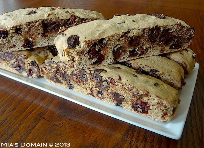 Mia's Domain: Gluten Free Cranberry Chocolate Biscotti