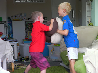 fighting with cushions