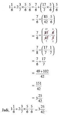cara menghitung perkalian pecahan campuran
