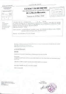 délibération en mairie le 26 mai 2008