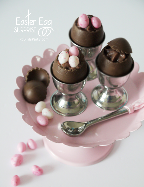 Easter Chocolate Mousse Dessert served in Chocolate Egg Shells