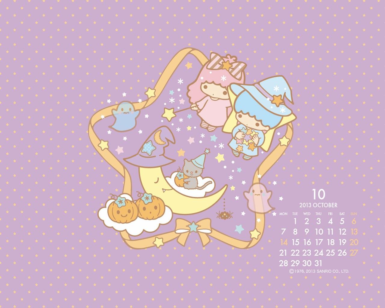 I love Kawaii: Little Twin Stars October Calendar Little Twin Stars Wallpaper 2013