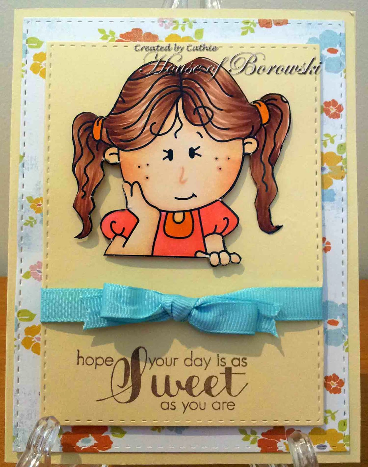 Diecut Divas, Bugaboo Stamps Kid Pocket Topper - Wavy Hair Girl