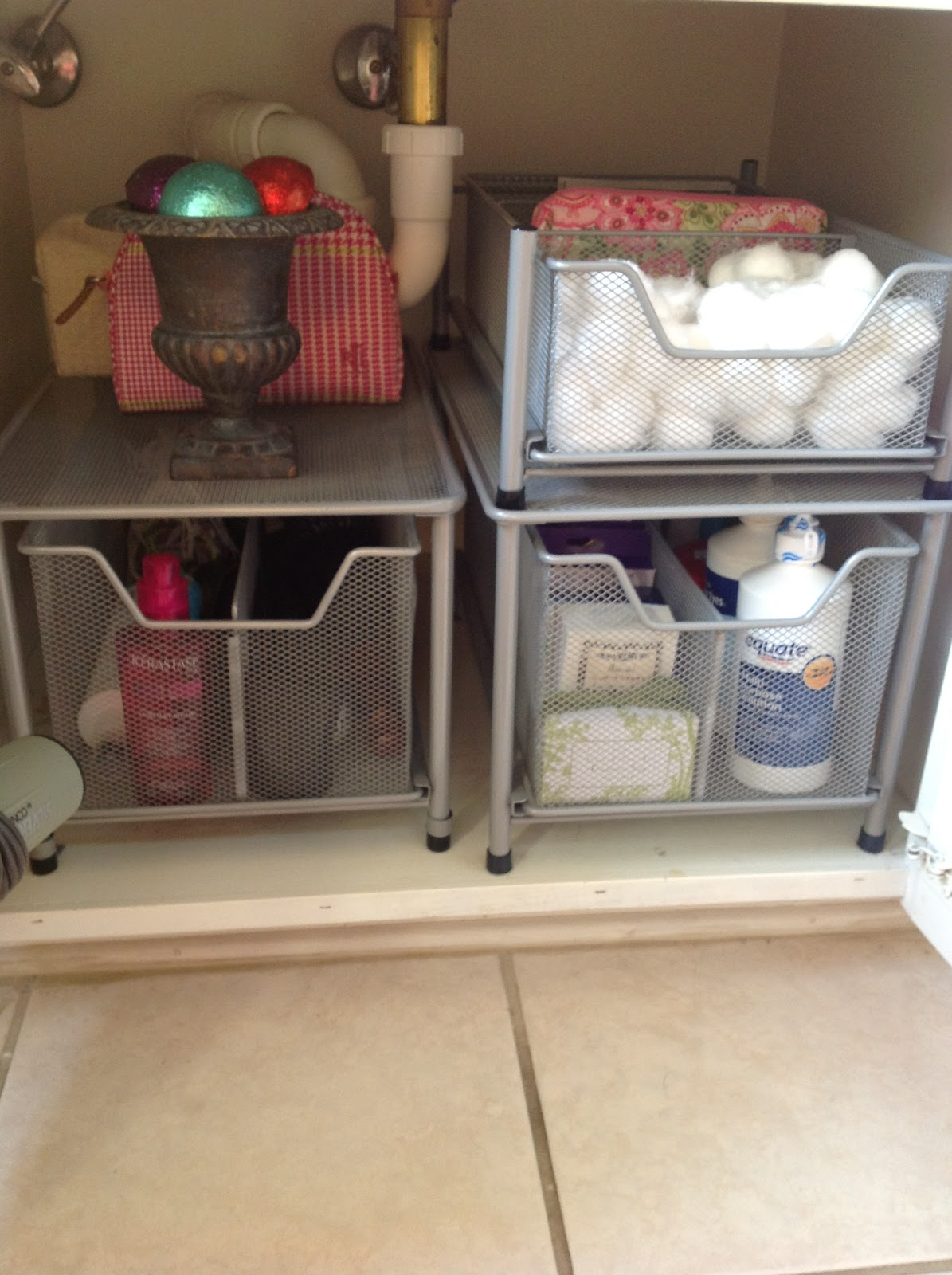 O is for organize under the bathroom sink for Bathroom cabinet organizer ideas