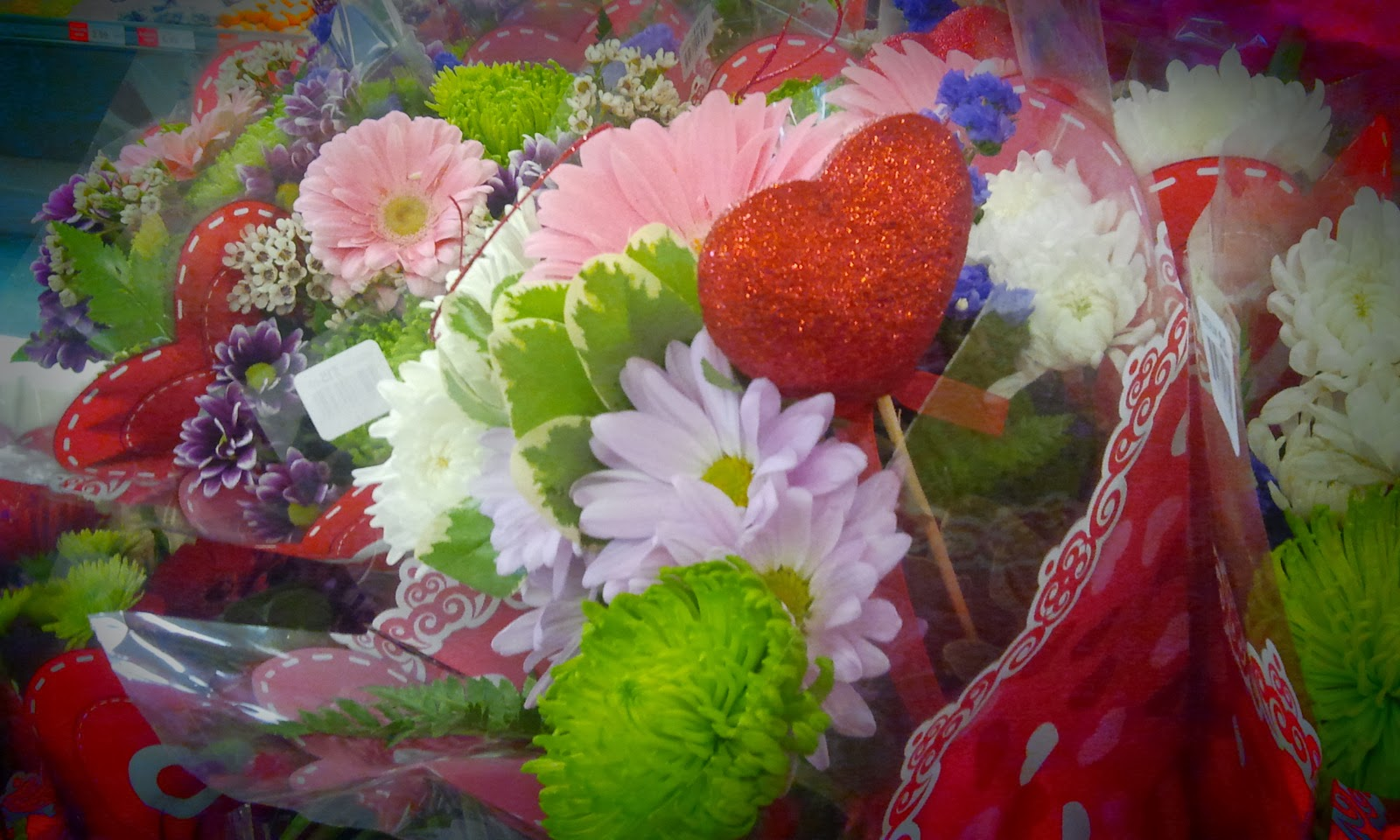 bouquet of valentine flowers with a heart