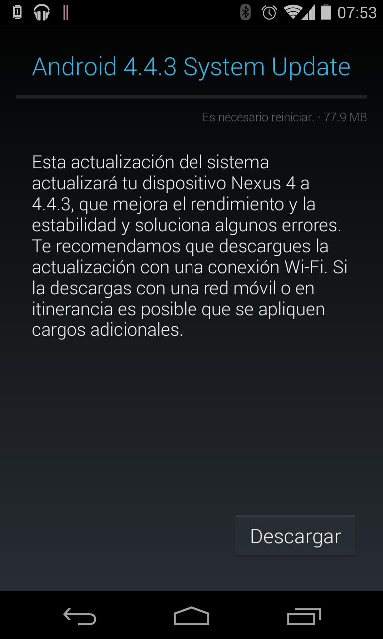 Actualizando Nexus 4 a Android 4.4.3