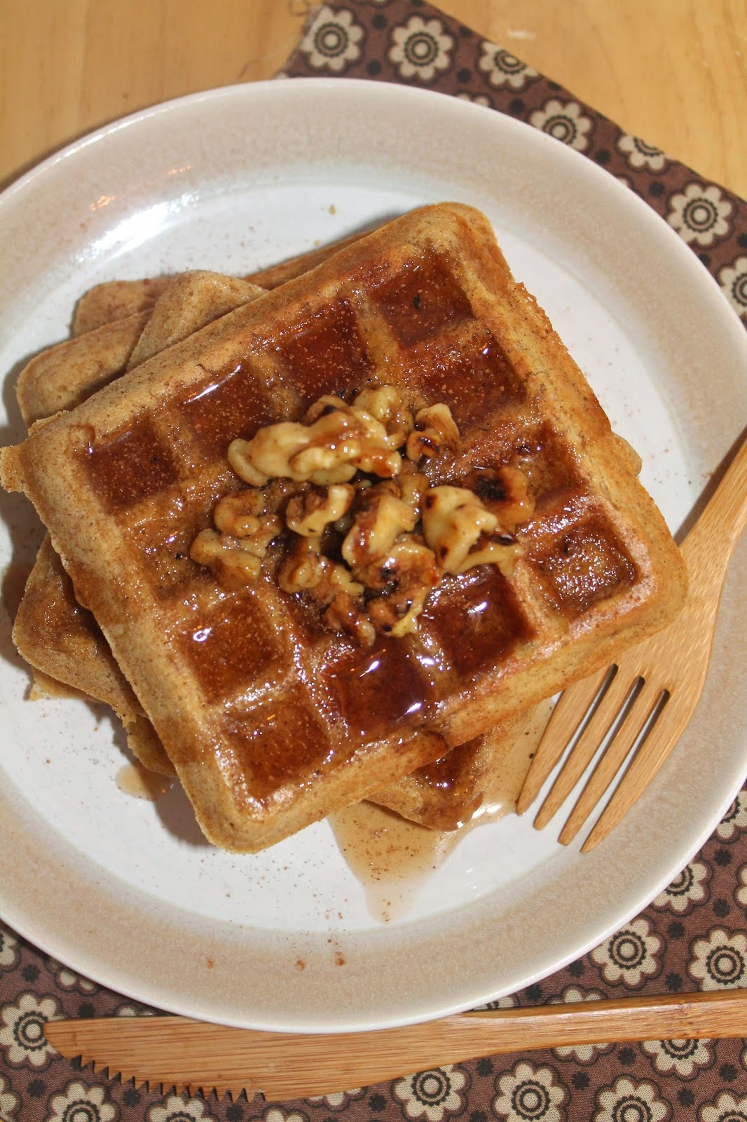 ... : Whole wheat acorn squash waffles with walnut and cinnamon syrup
