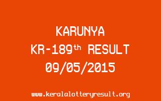 Karunya KR 189 Lottery Result 9-5-2015
