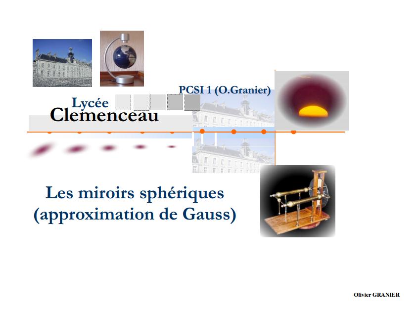 Miroires Sphériques SMPC S2 'Optique Géométrique
