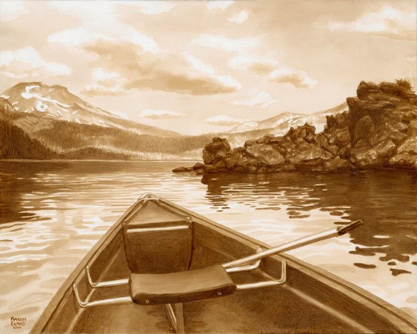 20-Canoeing-at-Sparks-Lake-Karen Eland-Vintage-Looking-Beer-and-Water-Paintings-www-designstack-co