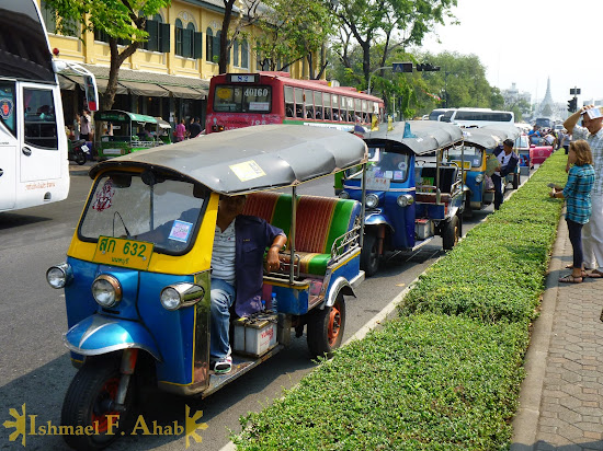 A line of tuktuk outside of the Grand Palace, Bangkok