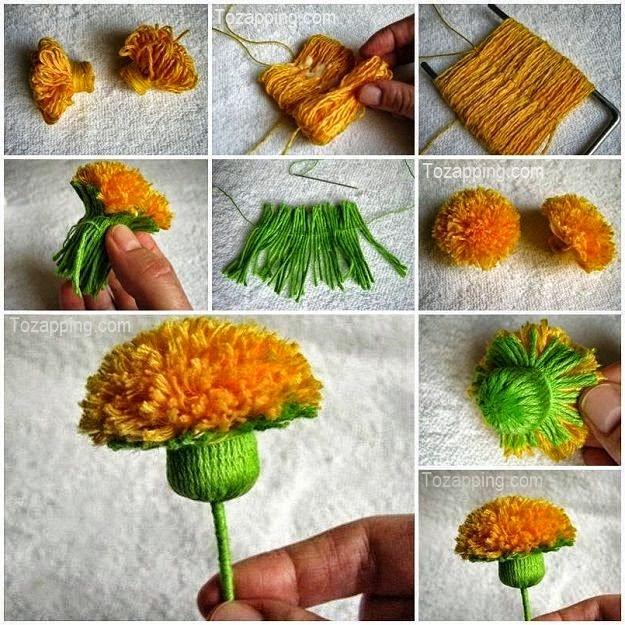 Flor de campo paso a paso realizada con lana