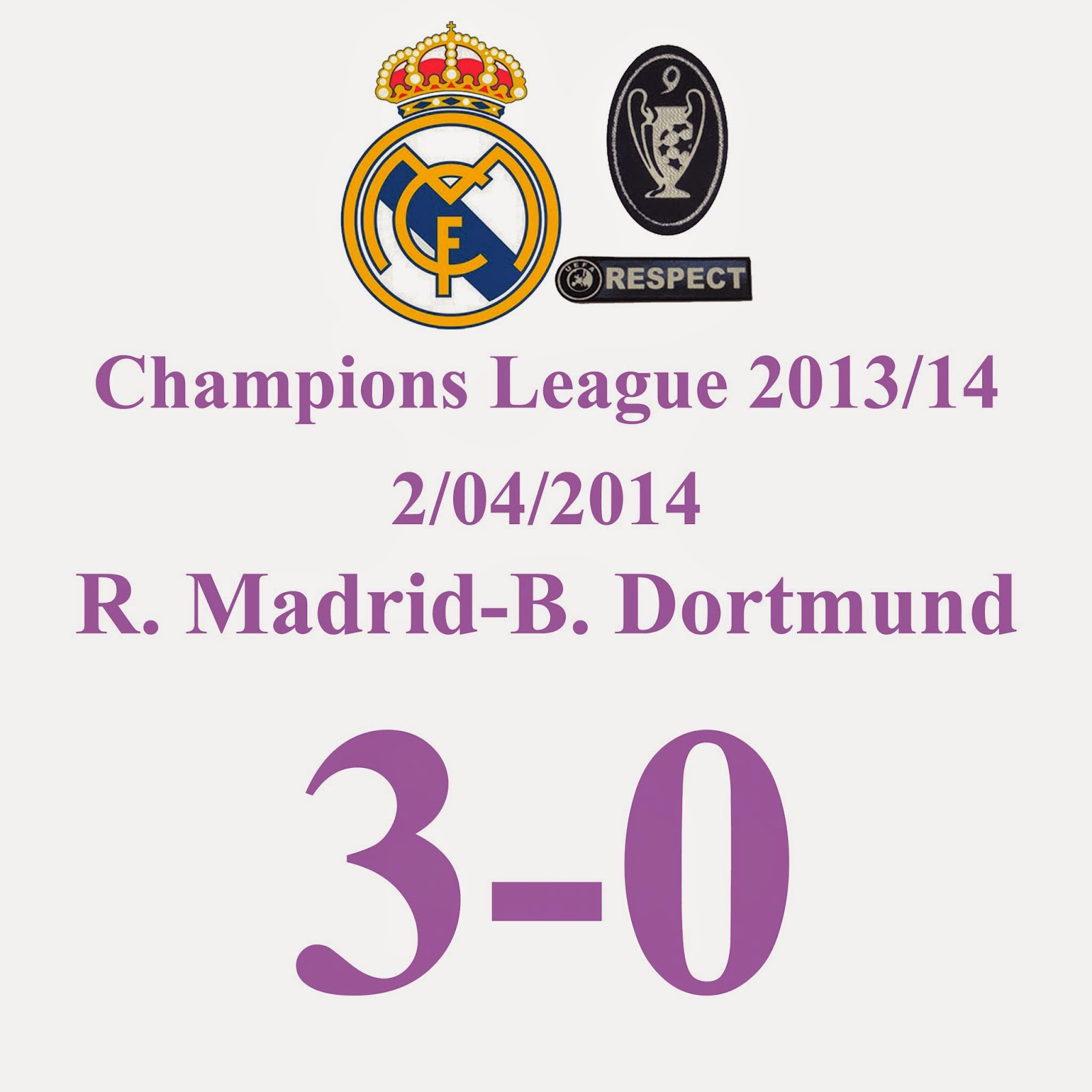 Real Madrid 3-0 Borussia Dortmund - Champions League Jornada Cuartos de final (ida) - 02/04/2014