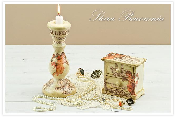 świecznik decoupage, komódka decoupage, technika decoupage, zdobienia decoupage, motyw z aniołkami, spękania dwuskładnikowe