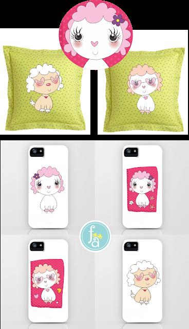 ilustração poodle, capa de iphone, almofada