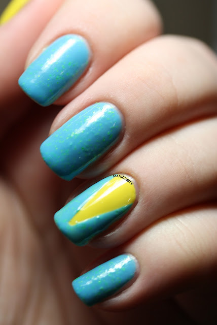 2 coats Spring Fling; accent nail is 1 thick coat over Cult Nails You're My Dandy Lion
