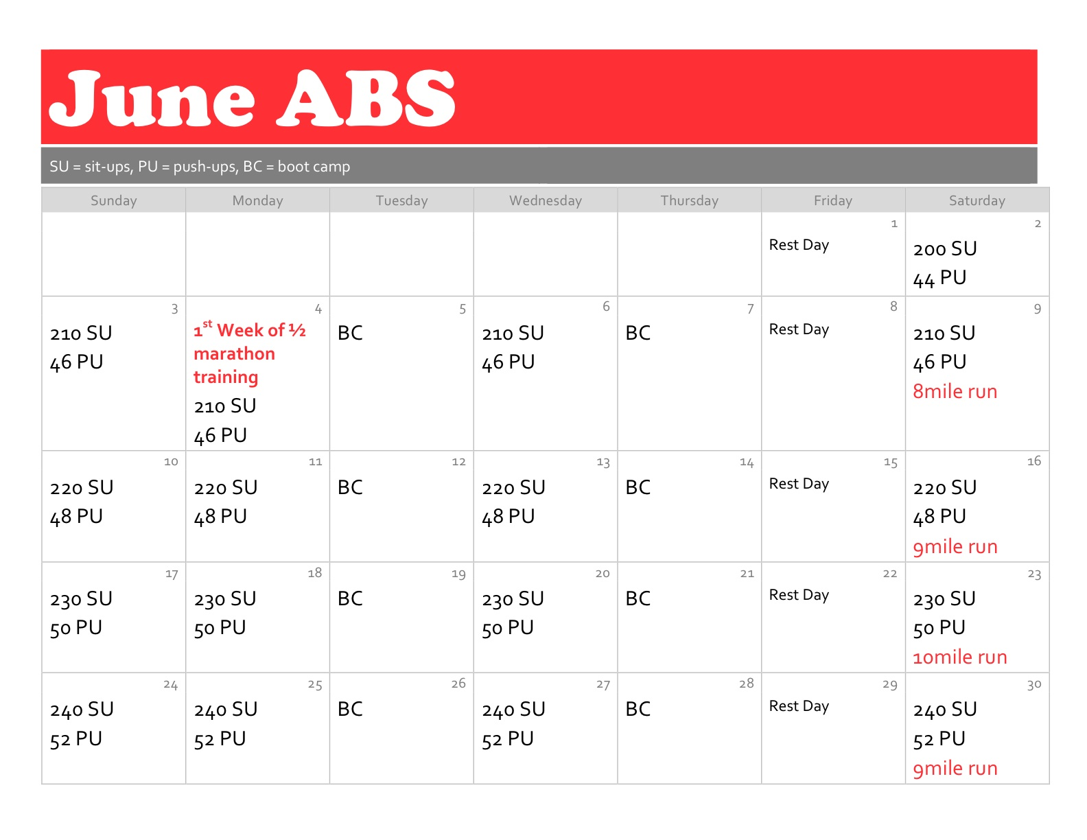 June ABS And Workout Plan For The Month