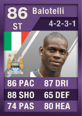 Mario Balotelli (IF2) 86 Purple iMOTM - FIFA 12 Ultimate Team Card